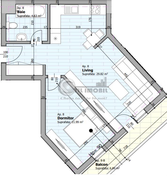 Apartament 2 camere, 53 mp, zona centrala, 90.600 euro
