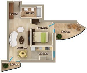 Apartament 2 camere tip 3 Centru Palas