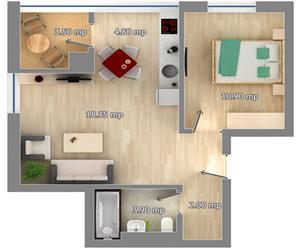 Apartament 2 camere tip 2 Concept