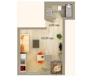 Apartament 1 camera tip B Centru Palas