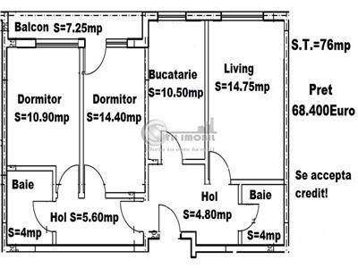 Apartament 3 camere decomandat 76mp