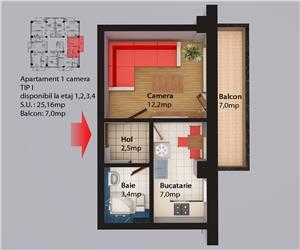 Apartament 1 camera decomandat Centru Civic Iasi