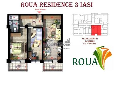 Apartament 3 camere 65mp