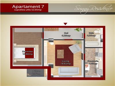 Apartament doua camere capat CUG 51.800 EURO - parter
