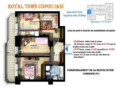 Apartament 3 camere Copou, finisaje de lux, 65000euro