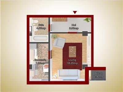 Apartament o camera capat CUG 33500 EURO -etaj 1