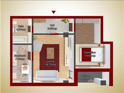 Apartament doua camere capat CUG 47,500 EURO - ETAJ 1