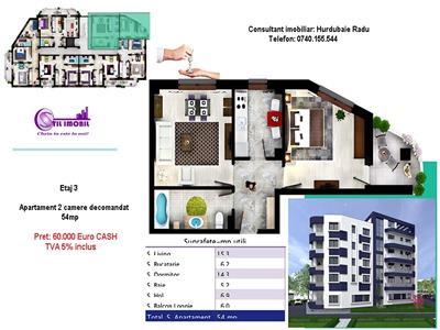 Apartament 2 camere decomandat 60.000 Euro Nicolina