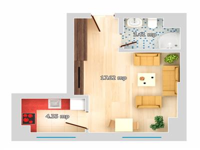 Apartament 1 camera Tip A - Galata