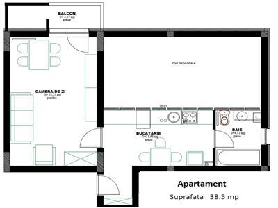 Apartament 1 camera 39