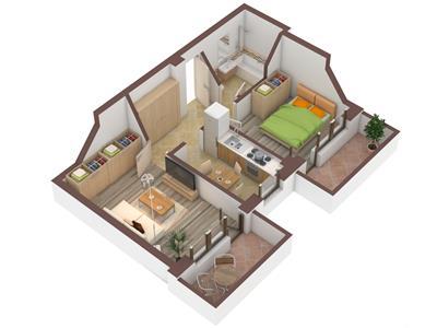 Apartament 2 camere, decomandat - 43.200Euro