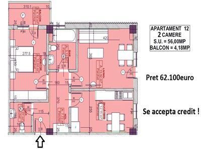 Apartament 2camere, 60mp - 62.100Euro - Pacurari