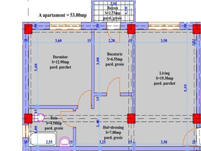 Apartament 2 camere in suprafata de 53mp