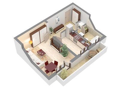 Apartament 1 camera 43,5 mp PRET PROMOTIONAL