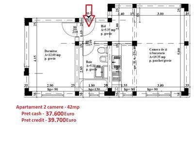 Apartament 2 camere 37.600E