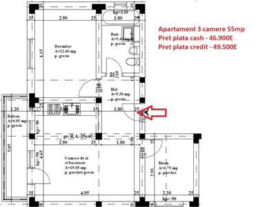 Apartament 3 camere 46.900E