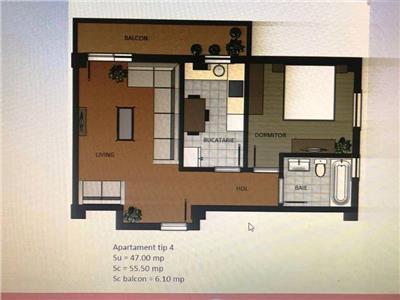 Apartament 2 camere ,47mp, CUG-T. Neculai 1km
