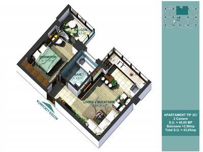 BAZA III  APARTAMENT 2 CAMERE 43.55mp 45750euro
