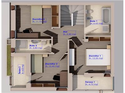 Vila duplex 4 camere, 106mp