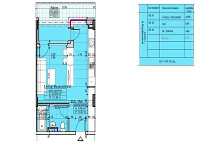 Apartament 1 camera, tip B, 40,10mp
