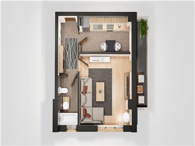 Apartament 1 camera, Blocul 2 Oancea