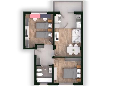 Apartament 3 camere, decomandat, cartier rezidential, Tatarasi, 62.4mp