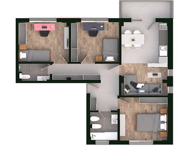 Apartament 4 camere, decomandat, cartier rezidential, Tatarasi, 77.6mp