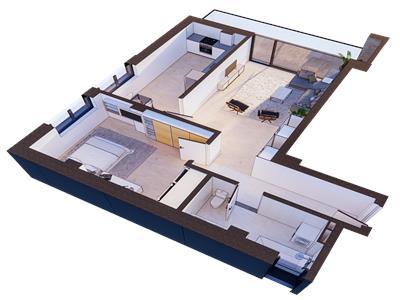 Copou, 2 camere, bloc nou, 123.500 euro