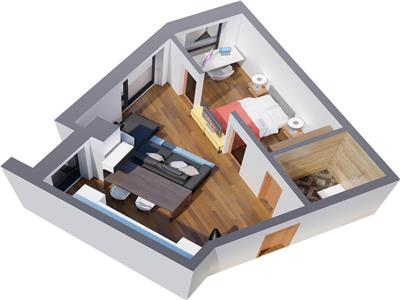 2 camere open ,41mp, Tatarasi , bloc nou