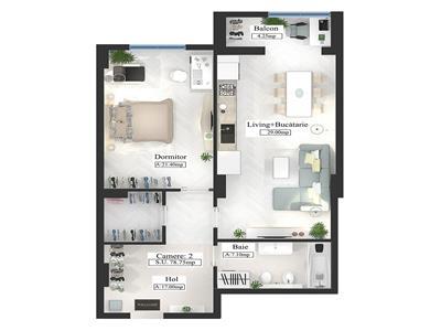 Apartament Copou 2 camere 79 mp