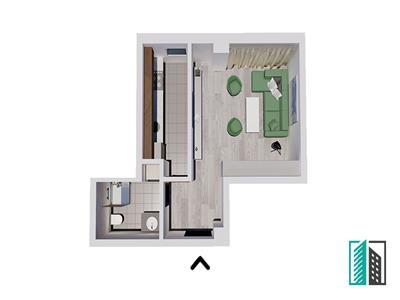 Apartament nou, 1 camera, 37 mp, 33500Euro, Bucium, predare sept.2021