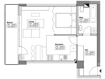 Apartament cu o camera studio,47mp, Tatarsi Sud,61048 euro
